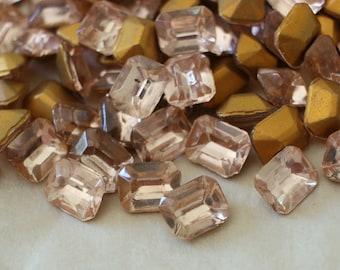 10x8mm Octagon Light Rosaline Vintage Czech Glass Stones (4) TTC