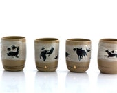 handmade unique ceramic tumbler woodland theme rustic drink ware