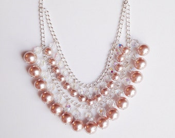 Statement Pearl and Crystal Necklace - Weddings - Brides - Bridesmaids