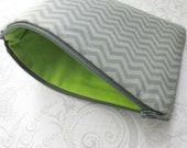 Gray Chevron -- Zippered Cosmetic Bag -- Makeup -- Cotton Pouch -- Lime Green