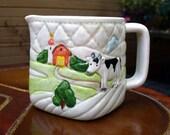 Vintage Creamer Cow Otagiri Farm Scene 1982