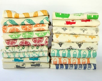Kitchen Towels, Hand Printed, Choose Your Set of 5, Hostess Gift