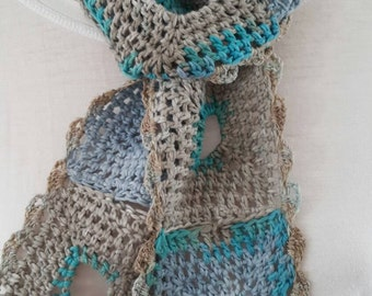 Little Scarf Crocheted in Superb Bio Cotton from Italy - Wearable Art