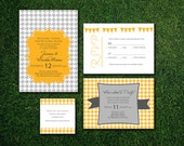 Houndstooth Party, Wedding Invitation Suite, Ready to Print