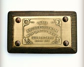 """Etched Brass Ouija Board Plaque - 2"""" x 4"""", Wood Mounted and Ready to Hang!  One of a Kind Home Decor, great gift!"""