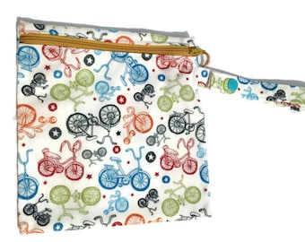 Bikes Sandwich Size Bag Washable Reusable Snack Bag