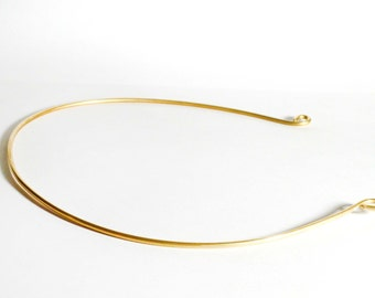 Simple Golden Crown- Golden Circlet for wedding or costume- brass with loops , round