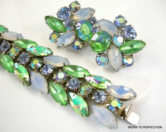 Kramer of New York Bracelet and Earrings Aurora Borealis Pale Green and Opalescent Navettes