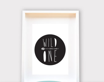 Wild One / Wall Art 8x10 Print, Kids Room Decor / Nursery Art Print / Kids Interior Design