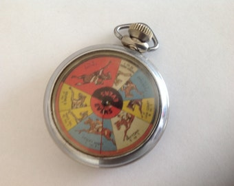 Vintage Horse Race Pocket Watch Style Gambling Game