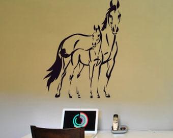 Horse Foal Wall Decal Pony Western Room Decor Girls Bedroom Sticker Teen Girl Dorm Gift Baby Nursery Wall Decor Boy Child 22 X 28 inches