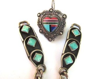 Sterling Silver Turquoise Native American Jewelry Watch Band Stone Earring
