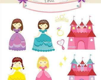 ON SALE princess clip art- princess and castle clip art, girl clip art, Digital clip art, little princess, instant download clip art