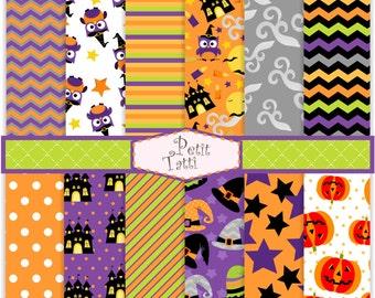 ON SALE Halloween scrapbook paper - Digital paper Halloween owl, INSTANT Download