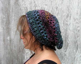 Slouchy Hat, Multi Coloured, Crochet with Knit Band, Winter Wear, Hat, Blue, Black Pink, Orange Purple, Handmade by NormasTreasures