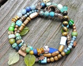 Mixed Media Wrap Bracelet in Shades of Blue and Green - Blue Glass Beads, Picasso Glass Beads, Wood Beads, Blue Stone Beads