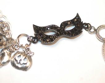 Halloween Charm Bracelet , Halloween Bracelet , Halloween Mask Charm Bracelet , Masquerade Party Charm Bracelet