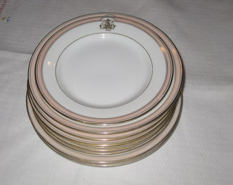 Vintage English Bone China Plates, Assorted Sizes Collection of 9 Monogrammed Pink Band Gold Trim Stripe White Plate Gold Initial