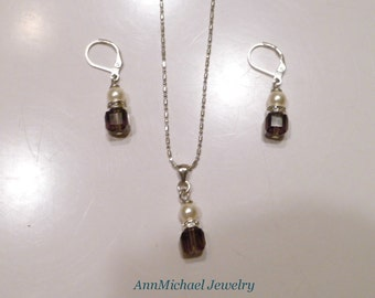 Swarovski Amethyst Crystal and  Cream Pearl Necklace and Earring Set; purple and pearl; purple crystal; purple jewelry, pearl set