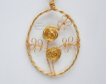 Gold Rose necklace, golden rose pendant, wire rose pendant, wire rose necklace, golden rose, copper anniversary
