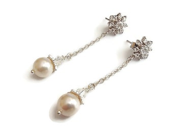 Wedding Earrings. Wedding Jewelry. Pearl. CZ. Flower Crystal. Dangle