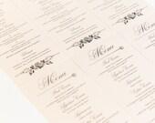 Black Roses Set 10 Menu Cards Custom Wedding Decor Handmade Bridal Sign Table Setting Special Event Gothic Offbeat Formal Pink
