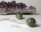 Green Line Quartz Earrings, Long Sterling Silver Earrings, Twisted Vines, Handmade by RiverGum Jewellery