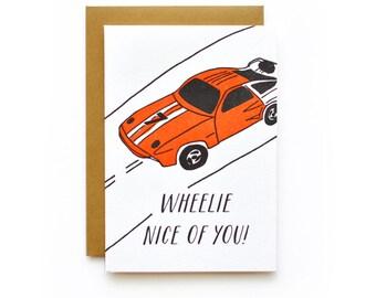 Wheelie Nice - letterpress card