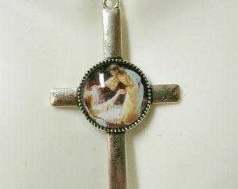 Jesus, the healer cross pendant and chain, earrings, or set - AP35-026