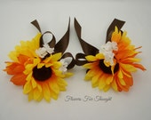 2 Wrist Corsages with Sunflowers and Orange Daisy, Silk Wedding Flowers, Mother of Bride/Groom, FFT original, Made to Order