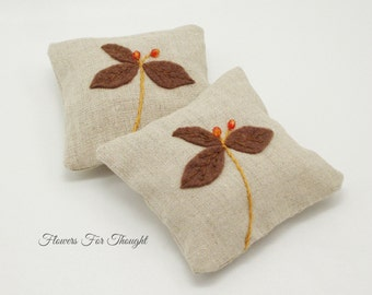 Lavender Sachets Linen Organic Hand Embroidered Applique Scent Drawer Closet Bedroom Set of 2