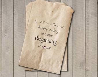 Wedding Favor Bags, Candy Favor Bags, Wedding Candy Bags - A Sweet Ending to a New Beginning - Wedding Candy Buffet Bags, Engagement Shower