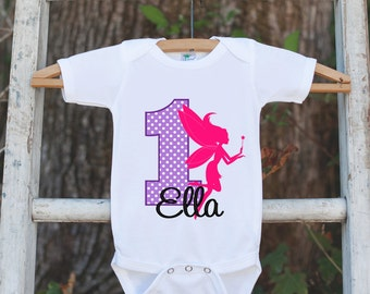 First Birthday Fairy Bodysuit - Personalized Bodysuit For Girl's 1st Birthday Party - Fairy Onepiece Birthday Outfit With Name & Age