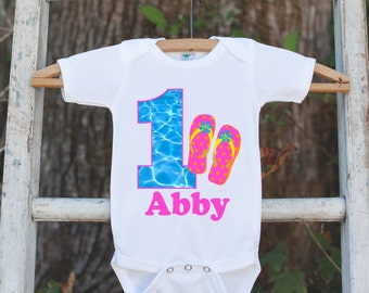 Pool Party Onepiece Bodysuit - First Birthday Bodysuit - Personalized Pool Party Outfit with Baby Girl's Name and Age and Flip Flop Sandals