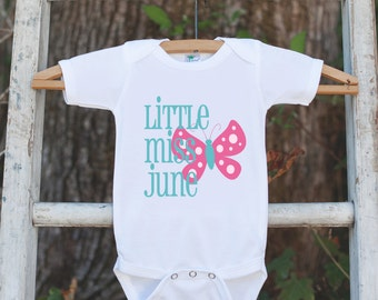 Little Miss June Onepiece Bodysuit - Take Home Outfit For Newborn Baby Girls - Pink Butterfly Infant Going Home Hospital Onepiece
