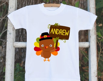 Thanksgiving Shirt - Baby Turkey Onepiece - Fall Outfit for Baby Boy or Baby Girl - Personalized Turkey Shirt with Name - Novelty Shirt
