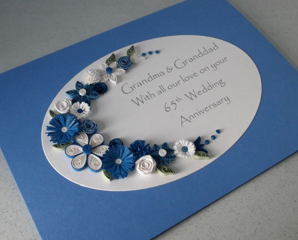 Quilled th sapphire wedding anniversary card handmade