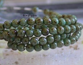 Moss Green Picasso Czech Beads 4mm 50 Round Druk Glass Beads Per Strand