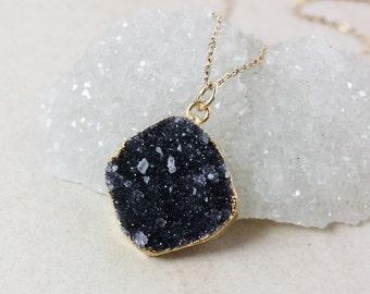 Black Druzy Pendant Necklace – Choose Your Druzy – Organic Round/Oval Cut