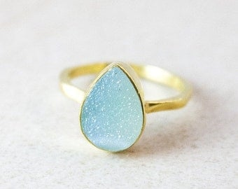 LABOR DAY SALE Blue Druzy Ring - Teardrop Druzy Ring - Stackable Rings, Gold or Silver