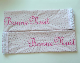 Pillowcases - Pink Rosebud - BONNE NUIT - Embroidered - Hand Made - Standard - Queen - Cotton - Eyelet Lace - Paris - France - Shabby Chic