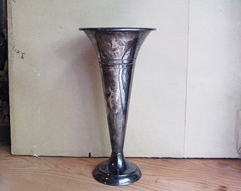 Vintage Silver Plate Art Deco Trumpet Vase with Patina Made in England by John Biggin .