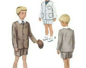 Vintage 1950s Pattern Boys Suit Collarless Jacket and Shorts 1950 McCall's 8300 Size 8 UNCUT