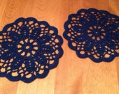 reserved for Roxanne: set of 2 NAVY blue 6 inch doilies coasters Handmade country kitchen decor dining mat mug kitchen victorian fall winter