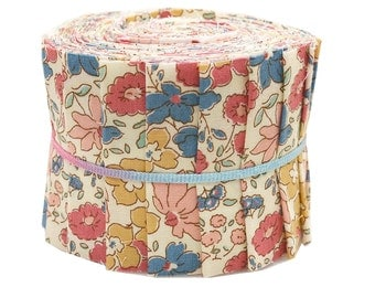 """Quilt Patchwork Jelly Roll 2 1/2"""" 20 Strips Cute Retro Floral Liberty Style in Multi Colored"""