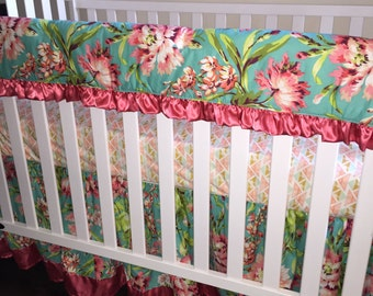 Ritzy Baby Love Bliss Bouquet Teal and Coral Crib Rail Cover/Teething Rail Guard