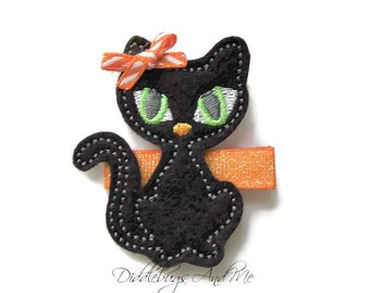 Black Kitty Hair Clip, Halloween Kitty Hair Clip, Girls Kitty Hair Clip, Halloween Hair Clip, Black Cat Halloween Clip, Black Cat Clip
