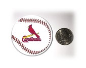 Cardinals Fridge Magnet Cardinals Locker Magnet  2 1/4 inches in diameter Baseball