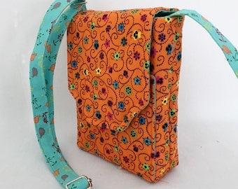 Mini Mini Hipster Iphone 6 Plus Case Smart Phone Case Adjustable Strap Quilted Fabric Mini Floral Multi Orange