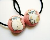 Button Ponytail Holders - Cats in Glasses